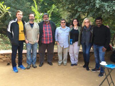 The crew of the Hidden Tiger with Valmik Thapar.